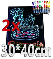 2-stuks:-LED-schrijfbord-30cm*40cm-|-90-functies